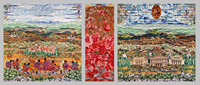 Fabric Collage on Canvas, Triptych, 4ft x 10ft x 2